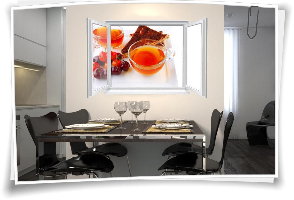 Wandtattoo Wandbild Fenster Tee Teezeit Geback Fruchte Wohnzimmer Kuche Esszimmer Deko