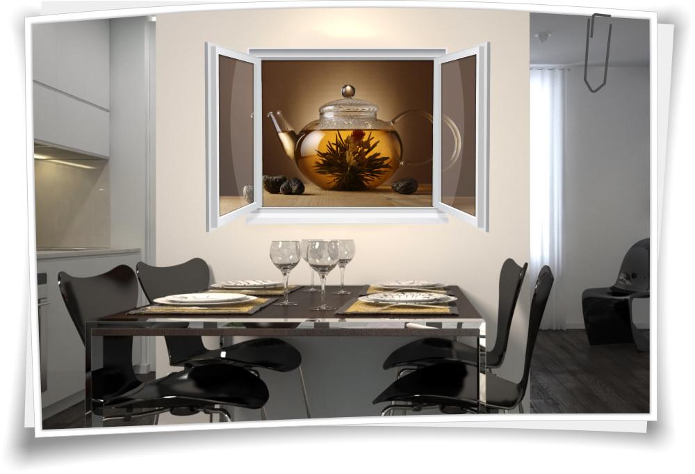 Wandtattoo Wandbild Fenster Tee Teezeit Krautertee Wohnzimmer Kuche