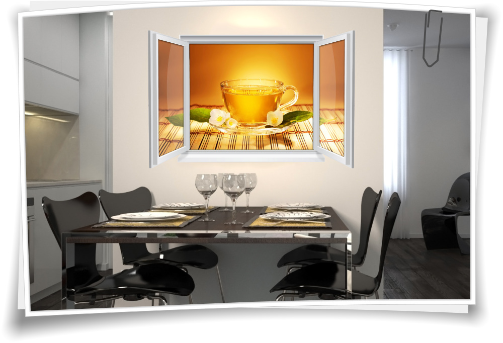 Wandtattoo Wandbild Fenster Tee Teezeit Kräutertee Wohnzimmer Küche