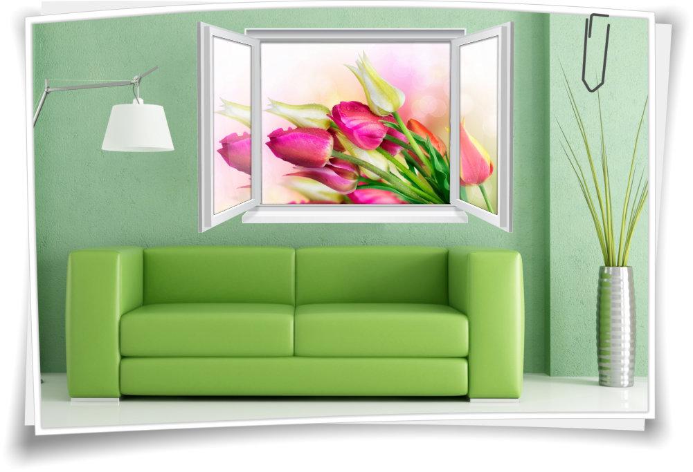 Wandtattoo Wandbild Fenster Tulpen Blumen Bunt Wohnzimmer Deko