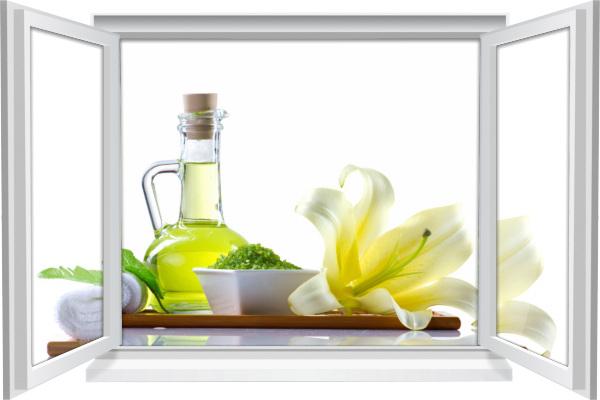 Wandtattoo Wandbild Fenster Wellness SPA Blüte Kräuter Wohnzimmer Deko