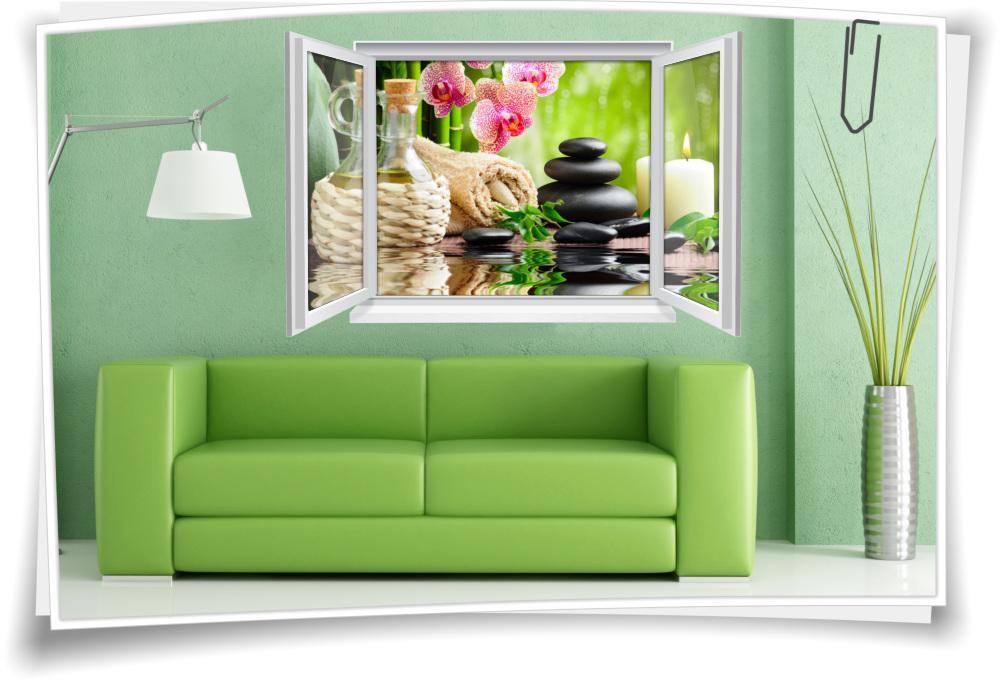 Wandtattoo Wandbild Fenster Wellness Spa Blumen Wohnzimmer