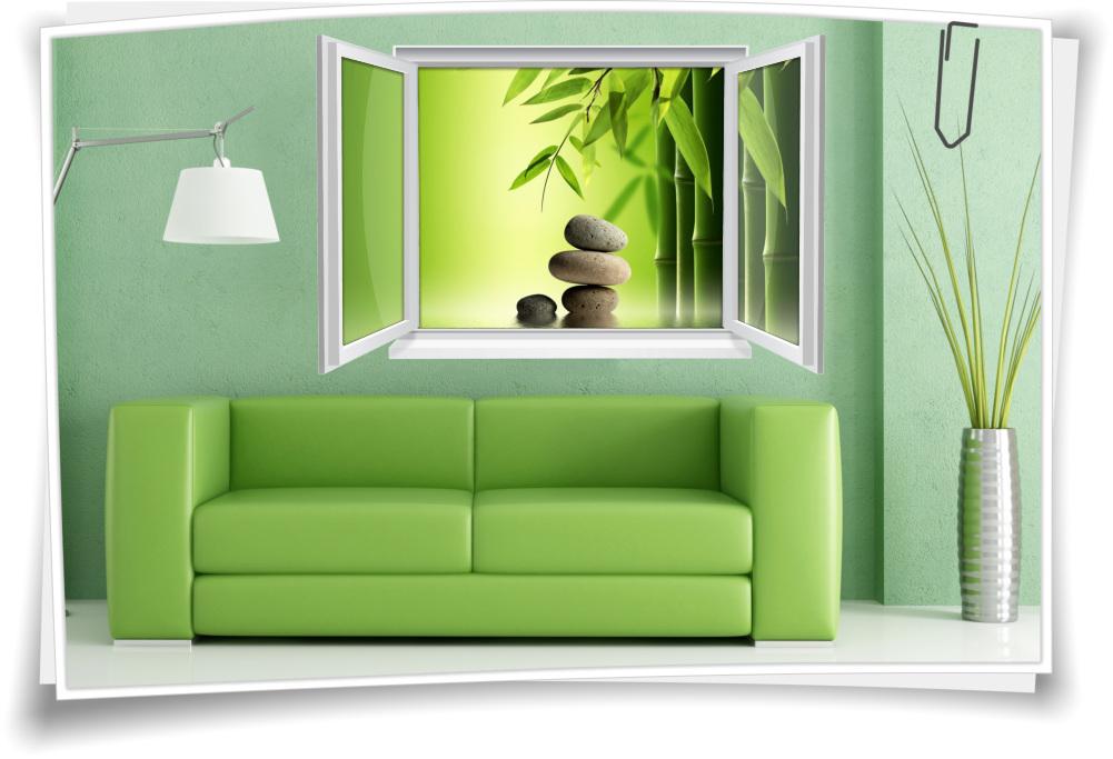 Wandtattoo Wandbild Fenster Zen Spa Wellness Bambus Steine