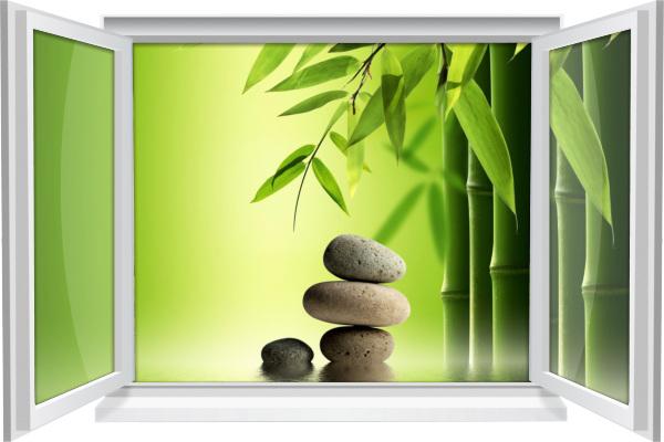 Wandtattoo Wandbild Fenster ZEN SPA Wellness Bambus Steine Wohnzimmer Deko