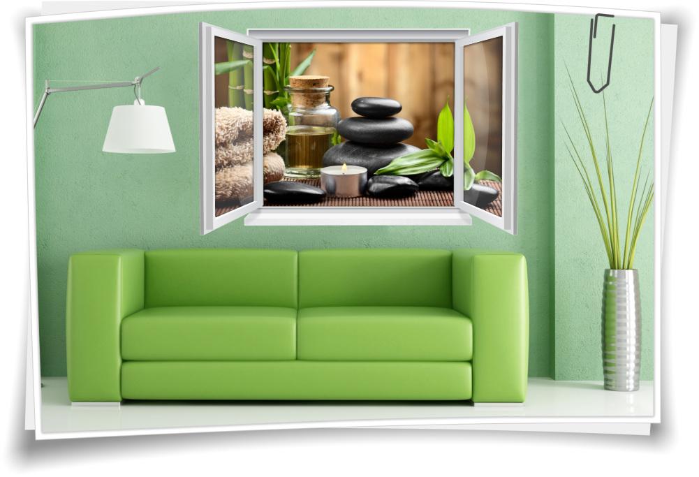 Wandtattoo Wandbild Fenster ZEN SPA Wellness Kerze Steine Bambus Wohnzimmer  Deko