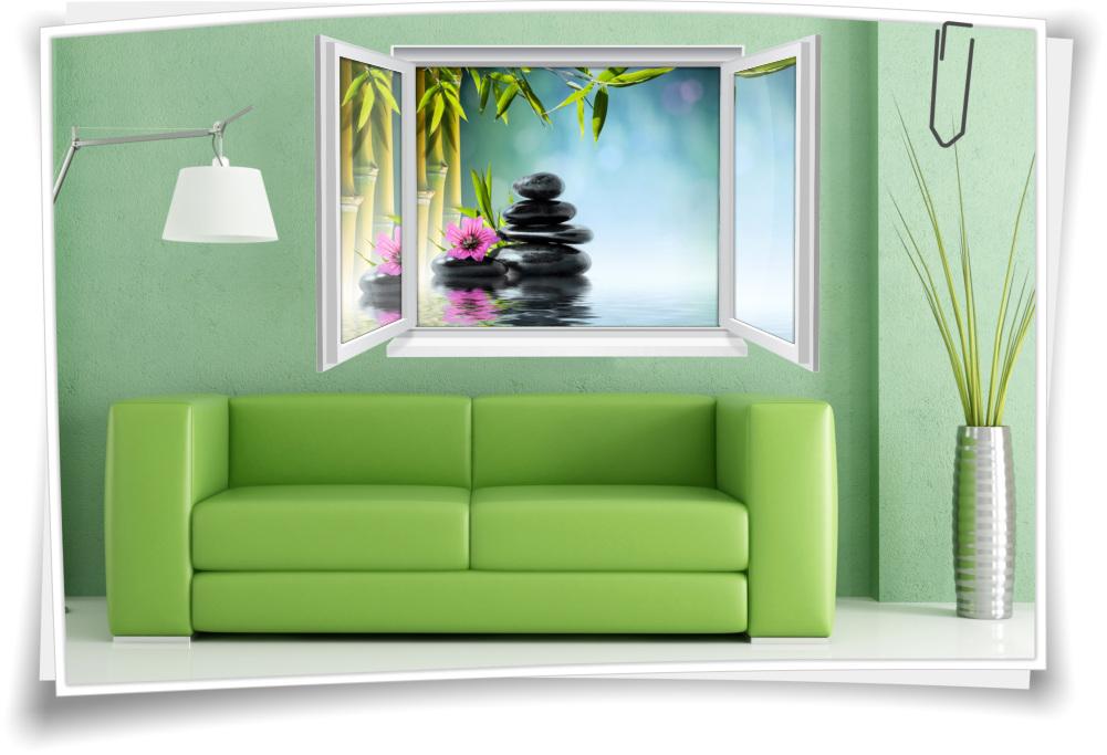 Wandtattoo Wandbild Fenster ZEN Wellness SPA Bambus Steine Wohnzimmer