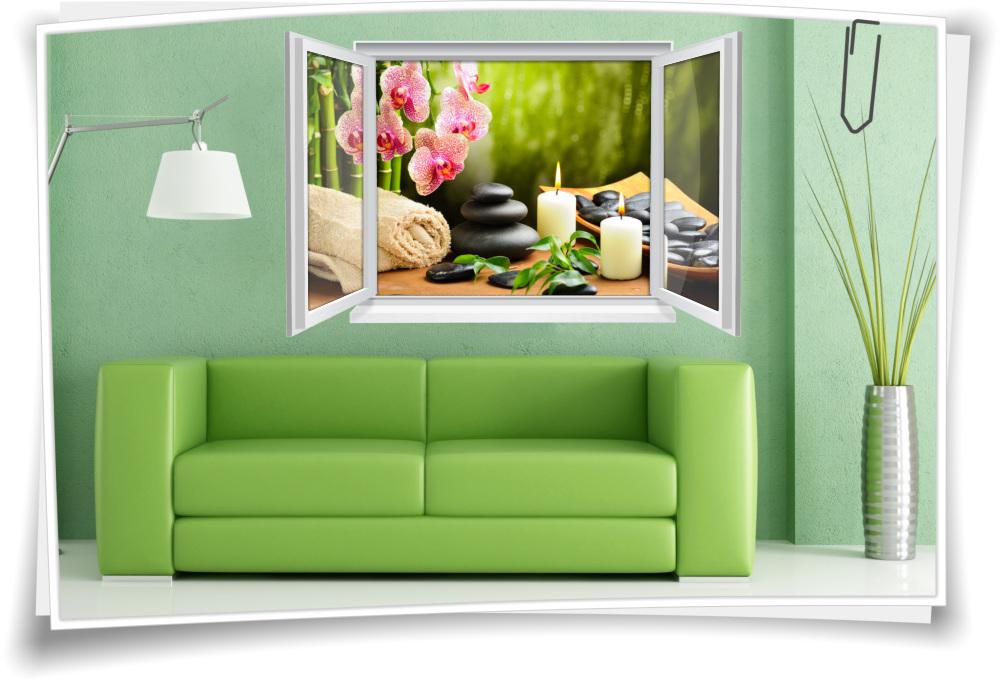 Wandtattoo Wandbild Fenster ZEN Wellness SPA Steine Orchidee Kerze  Wohnzimmer Deko