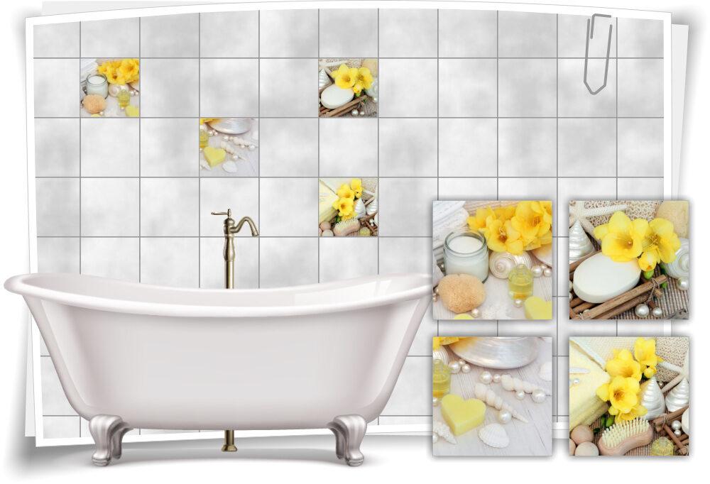 Fliesenaufkleber Fliesenbild Blüte Salz Öl Wellness SPA Aufkleber Fliesen Bad WC