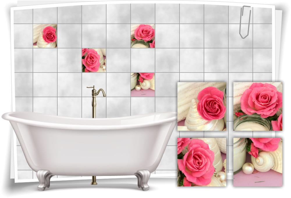 Fliesenaufkleber Fliesenbild Rose Blüte Rosa Wellness SPA Aufkleber Fliesen Bad