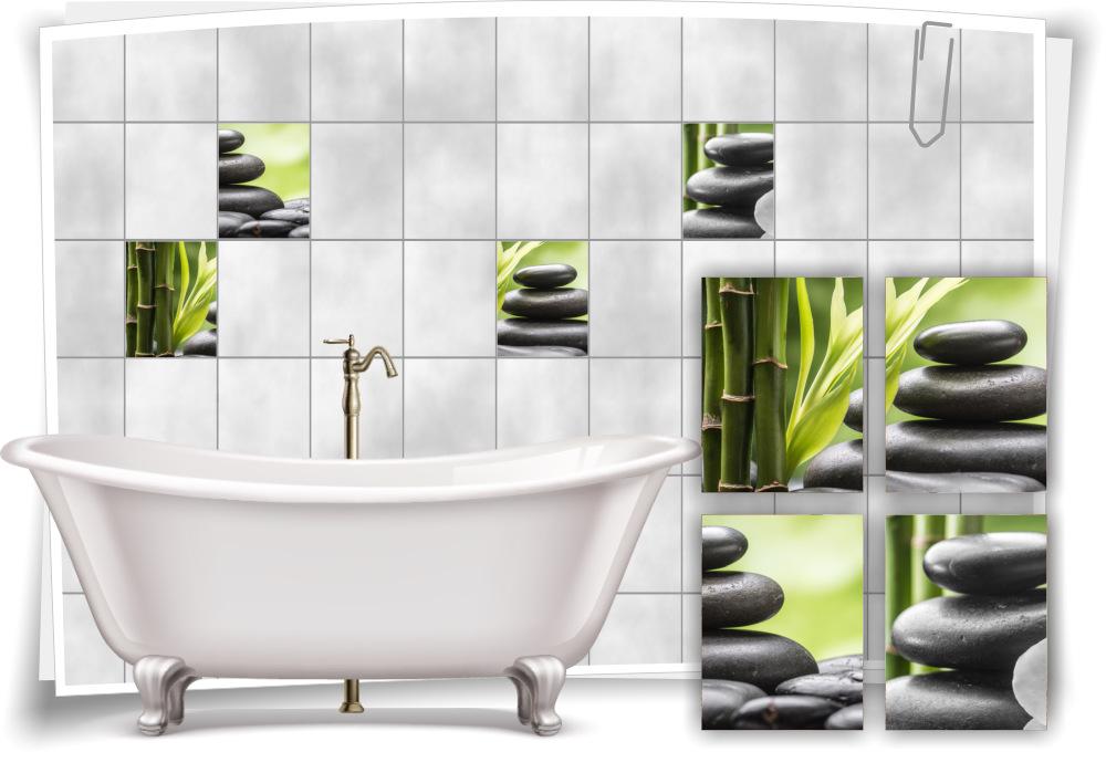 Fliesenaufkleber Fliesenbild Steine Bambus Wellness Spa Aufkleber Fliesen Bad Ebay