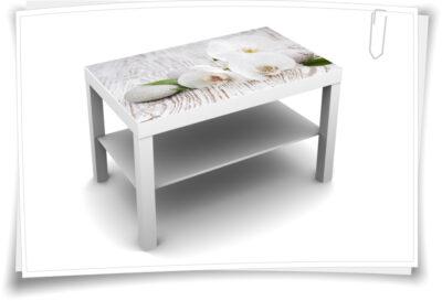 90x55cm Tischaufkleber Tisch Aufkleber Lack Couch Sofa Möbelfolie Kerzen Blumen Steine Spa Wellness