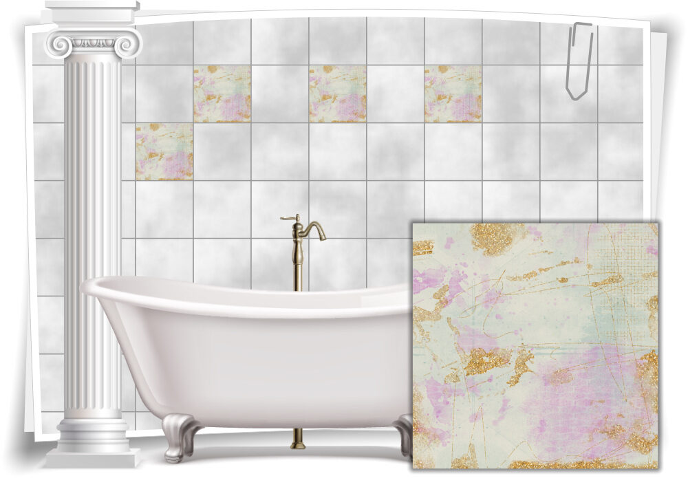 Fliesenaufkleber Fliesen Aufkleber Vintage Nostalgie Retro Shabby Chic Pink  Beige Küche Bad WC Deko