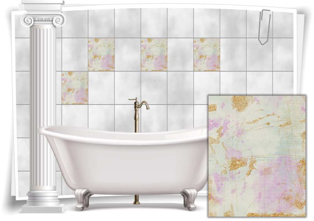 Fliesenaufkleber Fliesen Aufkleber Vintage Nostalgie Retro Shabby Chic Pink  Grün Küche Bad WC Deko