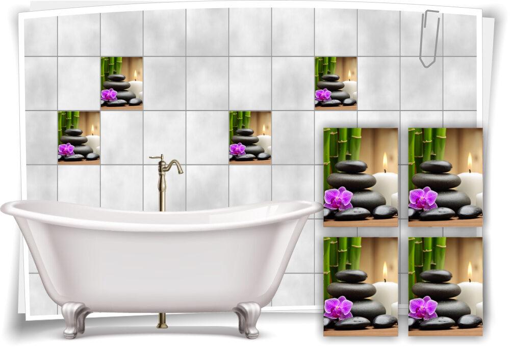 Fliesen-Aufkleber SPA Wellness Orchidee Steine Bambus Wasser Violett Bad WC Deko