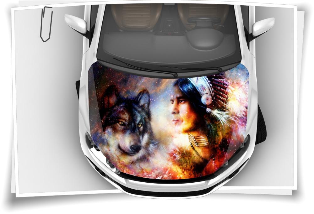 Dreamcatcher Indianer Wolf Motorhaube Auto Aufkleber Steinschlag Schutz Folie Airbrush Tuning