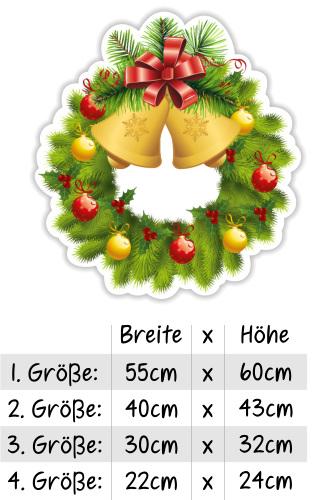 schaufenster fenster fensterbild weihnachten weihnachtskranz adventskranz christmas glocken. Black Bedroom Furniture Sets. Home Design Ideas