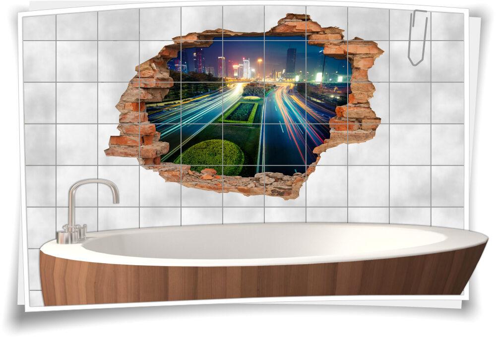 3D Wand-Tattoo Wand-Durchbruch Schnell-Straße Stadt beleuchtet