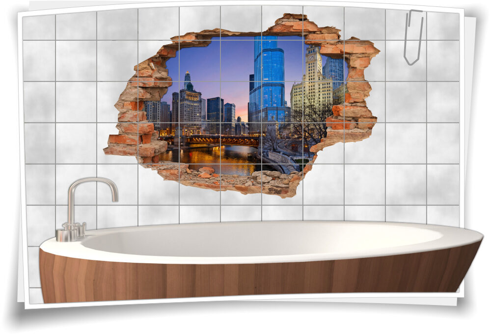 Fliesen-Tattoo Fliesen-Sticker Wand-Durchbruch Architektur Hoch-haus Stadt-Zentrum City Fluss Deko Raum-Gestaltung
