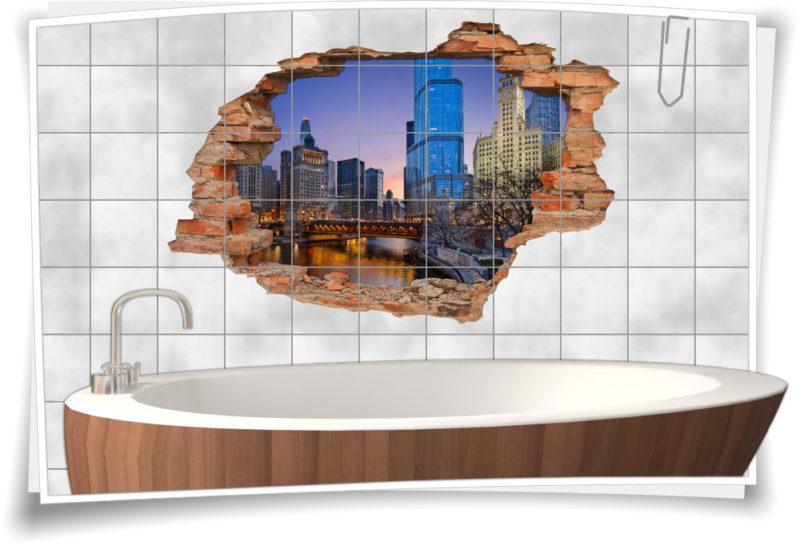 3D Fliesen-Aufkleber Fliesen-Bild Architektur Hoch-haus Stadt-Zentrum City Fluss