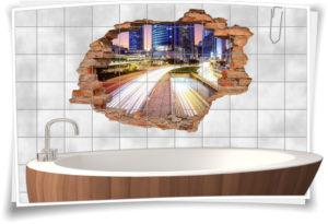 Fliesen-Tattoo Fliesen-Sticker Wand-Durchbruch Auto-bahn Aus-Fahrt Deko Raum-Gestaltung
