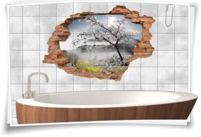 Fliesen-Tattoo Fliesen-Sticker Wand-Durchbruch Blüten-Kirsche Frühling Baum Landschaft