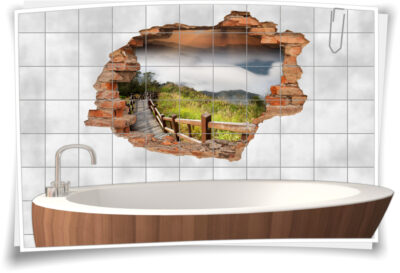 Fliesen-Tattoo Fliesen-Sticker Wand-Durchbruch Brücke Landschaft Deko Raum-Gestaltung