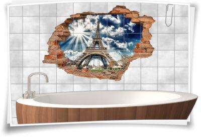 3D Fliesen-Aufkleber Fliesen-Bild Fliesen-Tattoo Fliesen-Sticker Wand-Durchbruch Eiffelturm Paris Frankreich
