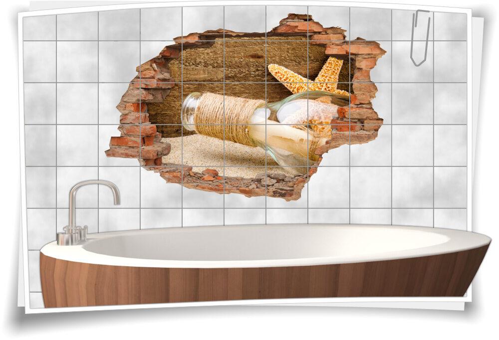 3D Fliesen-Aufkleber Flaschen-Post See-Stern Sand Holz Brief beige-braun