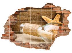 Flaschen-Post See-Stern Sand Holz Brief beige-braun