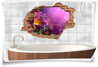 Fliesen-Tattoo Fliesen-Sticker Wand-Durchbruch Gladiolen Blumen-Strauß Harmonie Glück