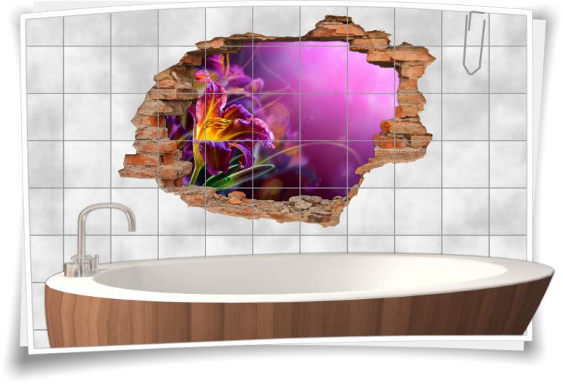 3D Fliesen-Aufkleber Fliesen-Bild Wand-Durchbruch Gladiolen Blumen-Strauß Lebens-Freude Deko Raum-Gestaltung