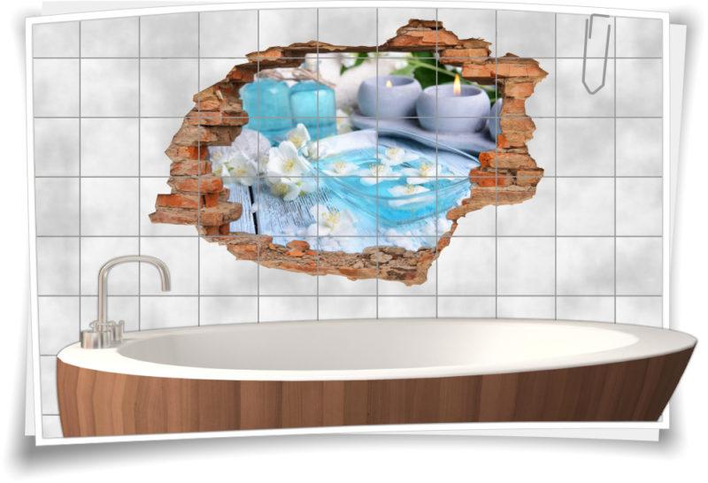 3D Fliesen-Aufkleber Fliesen-Bild Wellness Balance  Entspannung Deko