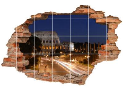 3D Fliesen-Bild Fliesen-Sticker Wand-Durchbruch Nacht Rom Antik Straße Lichter Beleuchtung Dekoration Raum-Gestaltung