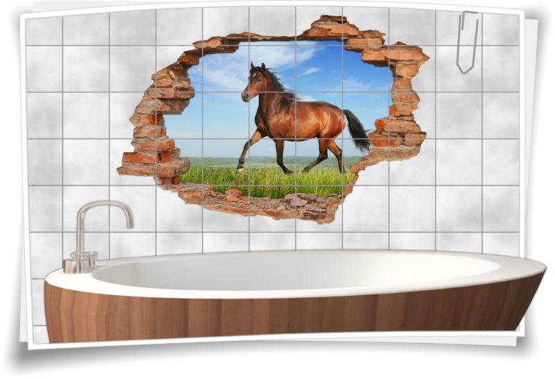 3D Fliesen-Aufkleber Fliesen-Bild Pferd-Bilder auf-der-Wiese Tiere Grün Deko