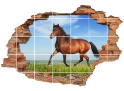 3D Fliesen-Aufkleber Fliesen-Bild Wand-Durchbruch Pferd-Bild auf-der-Wiese Tiere Grün