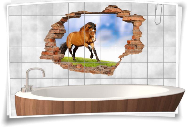 3D Fliesen-Aufkleber Fliesen-Bild Pferde Reit-Pferd