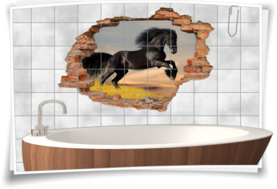 Fliesen-Tattoo Fliesen-Sticker Wand-Durchbruch Renn-Pferd Hengst horse schwarz
