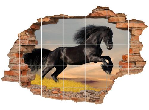 Fliesen-Tattoo Fliesen-Sticker Wand-Durchbruch Pferde Renn-Pferde schwarz
