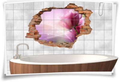 Fliesen-Tattoo Fliesen-Sticker Wand-Durchbruch Rosen Blumen-Strauß Harmonie Deko Raum-Gestaltung