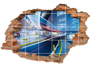 3D Fliesen-Bild Fliesen-Sticker Wand-Durchbruch Stadt-Mitte Gebäude Brücke City Beleuchtung
