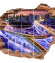 3D Fliesen-Aufkleber Fliesen-Bild Wand-Durchbruch Verkehr-s-Verbindung Auto-Bahn Brücke bridge  Highway
