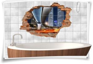 3D Fliesen-Aufkleber Nacht City Licht Beleuchtung