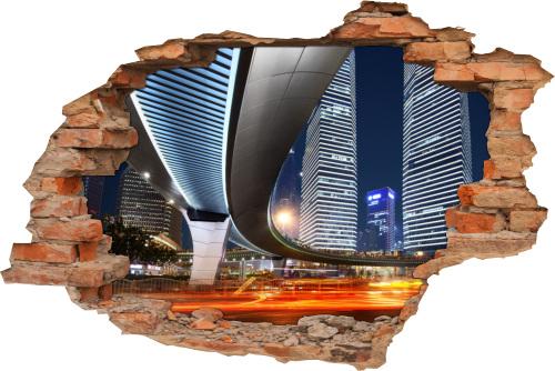 3D Fliesen-Aufkleber Fliesen-Bild Wand-Tattoo Wand-Durchbruch Beleuchtung Brücke Nacht City Licht