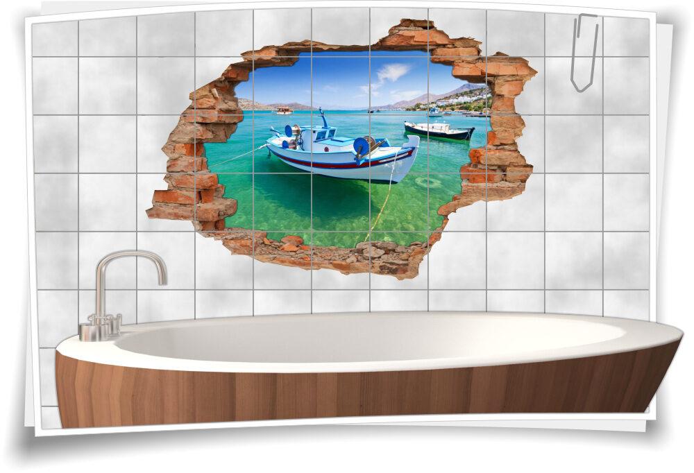 3D-Fliesen-Bild-er Azurblau Wand-tattoo maritim-e Deko  Bad-Fliesen-Aufkleber Boots-Fahrt Bucht Lagune Urlaub Meer Erholung