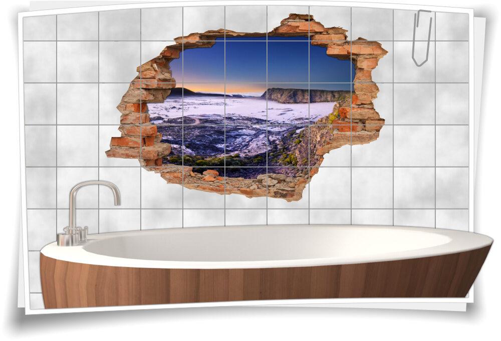 3D-Fliesen-Bild-er Natur Deko Wand-tattoo Bad-Fliesen-Aufkleber Island