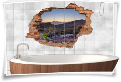 3D-Fliesen-Bild-er Sonnenuntergang Berge-Landschaft Wand-tattoo