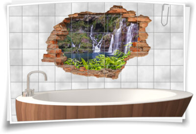 3D-Fliesen-Bild-er Wasser-fall Deko Wand-tattoo