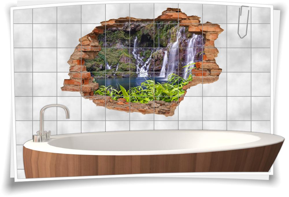 3D-Fliesen-Bild-er Wasser-fall Deko Wand-tattoo Bad-Fliesen ...
