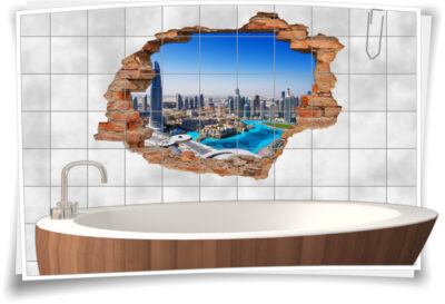 3D-Fliesen-Bilder Skyline Dubai Fliesen-tattoo Wolkenkratzer