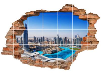 Bad-Fliesen-Aufkleber Wanddurchbruch Emirates-Towers Road